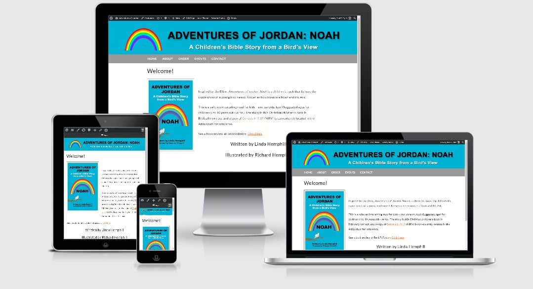 "Website we created for author Linda Hemphill's latest book ""Adventures of Jordan: Noah""."