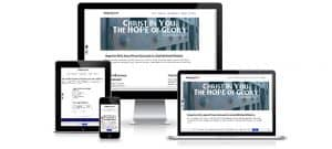 Photo of Hope for All in Jesus Prison Outreach website on various size devices.