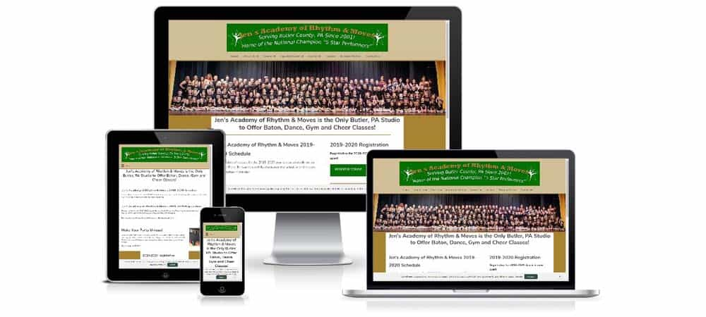 Photo of Jen's Academy website on various size devices.