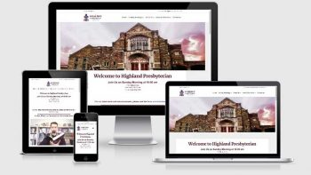 Portfolio view of Highland Presbyterian Church website at https://highland-presby.org/.