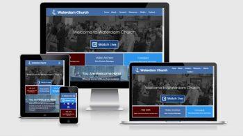 Portfolio view of Waterdam Church website at https://waterdam.org.